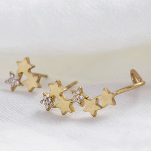 Crystal and Star Climbing Earring in worn gold