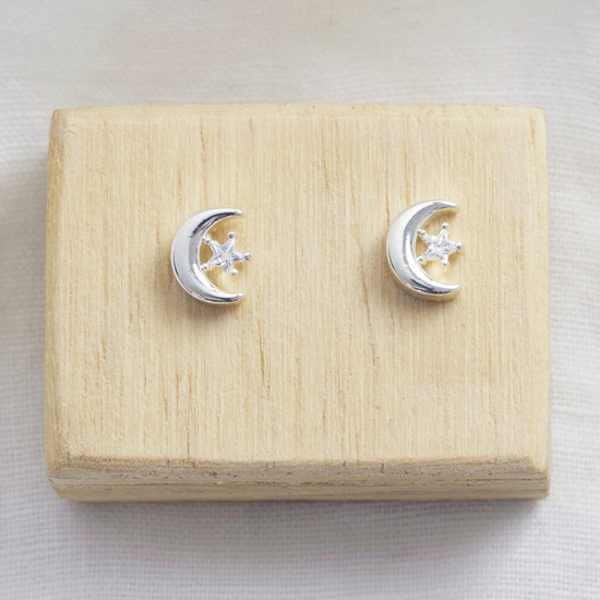Moon and Crystal Studs with silver plate