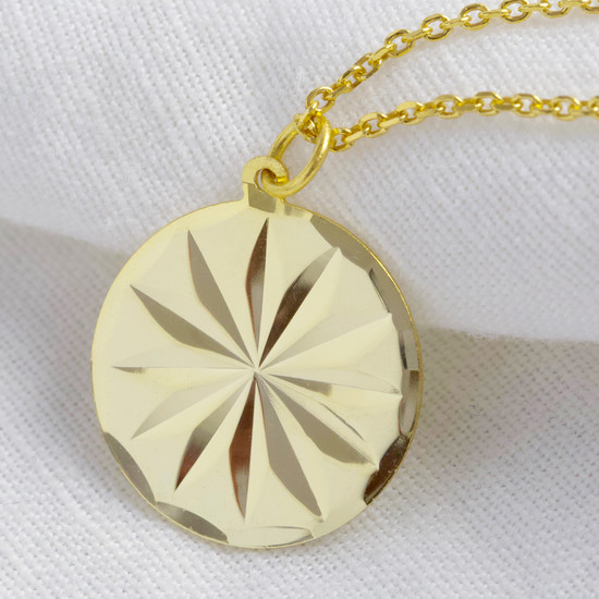 Gold Plated Sterling Silver Diamond Cut Star Disc Necklace