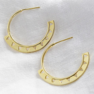 Aztec Hoops with Butterfly Backs - all 925 silver with gold plating