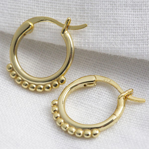 Small Sterling Hoops with gold plate with decorative bubble base