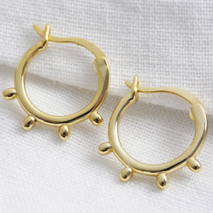 Gold Sterling Silver Orb Hoop Earrings