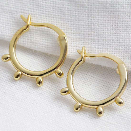 Gold Sterling Silver Orb Hoop Earrings