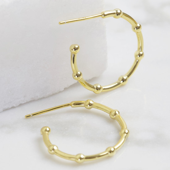 Small Ball Edge Hoops Sterling Silver, Gold Plated