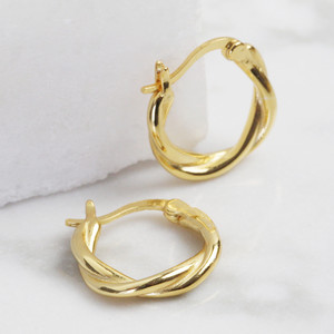 Twisted small hoops in gold plated sterling