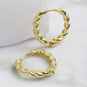 Small rope gold plated sterling hoops