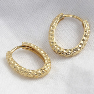 Oval Matt textured hoops in gold plated sterling