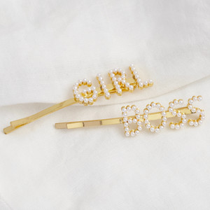 Girl and Boss Pearl Hair Clip Duo