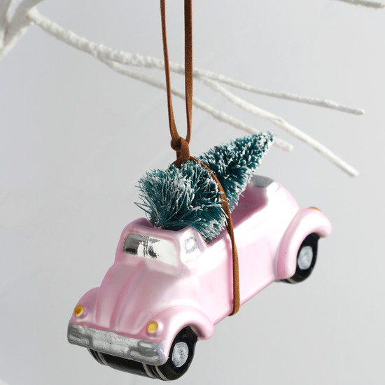 Pink Car with Bristly Christmas Tree Bauble