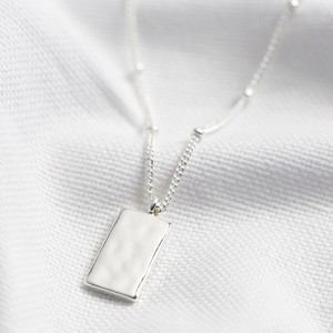 Tiny Hammered Tag Pendant Necklace in Silver