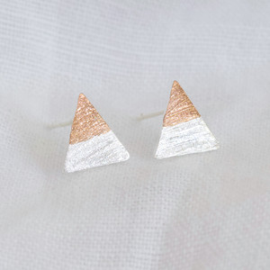 Silver Dipped in Rose Gold Triangle Stud Earrings