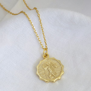 Gold Sterling Silver St Christopher Pendant Necklace