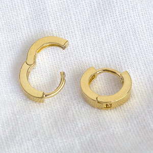 Gold Tiny Sterling Silver Huggies ( 8mm at widest point)