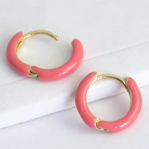 12mm gold plated huggie coral pink enamel