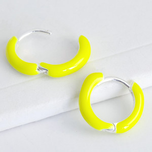 12mm silver plated huggie yellow enamel