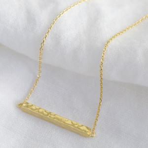 Gold Horizontal Hammered Bar Necklace (LI04 Bar)