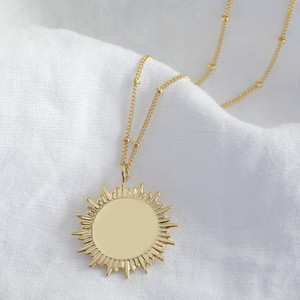 Gold Sunbeam Necklace - with Satellite Chain