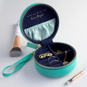Mini Round Travel Jewellery Case in Seagreen - Lightest Green/Navy inside. Gold Zip