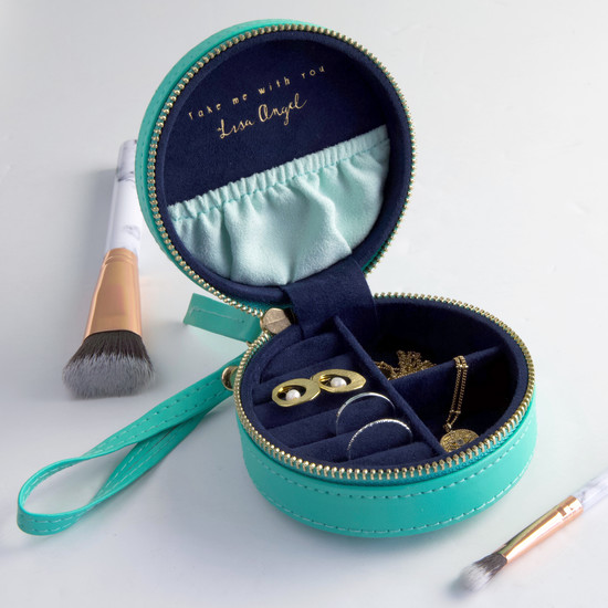 Sea Green & Navy Mini Round Travel Jewellery Case