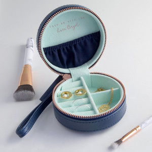 Navy & Mint Mini Round Travel Jewellery Case
