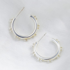 Double Ball Edge Shiny Silver Earrings