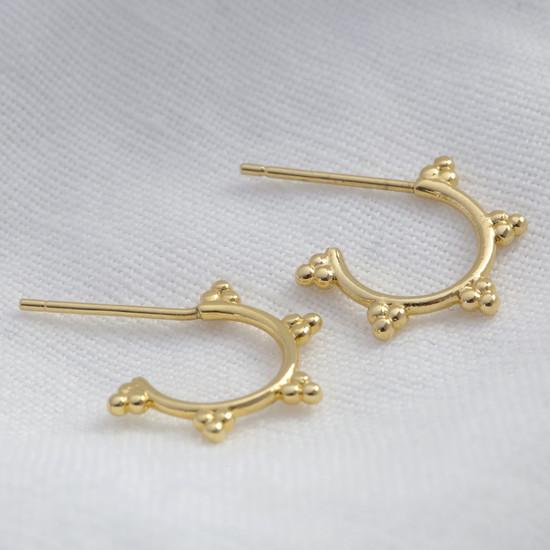 3 bead small hoop earrings