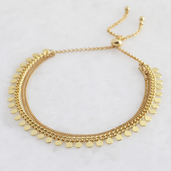 Gold Dotty Layer Toggle Back Bracelet