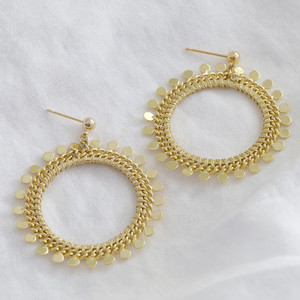 Gold Dotty Circle Drop Earrings