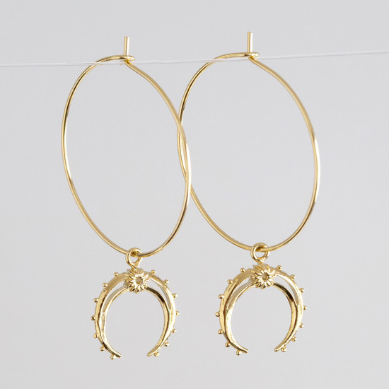 Horn with ball Edge Hoop Earrings