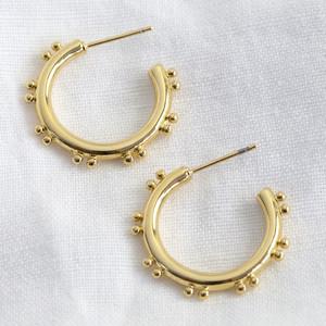 Double ball edge shiny gold earrings
