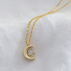 Crystal Moon Necklace in gold plate