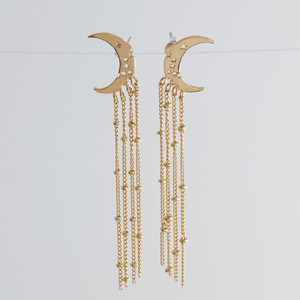 Gold Moon and Chain Drop Earrings