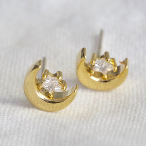 Moon and Crystal Studs with gold plate