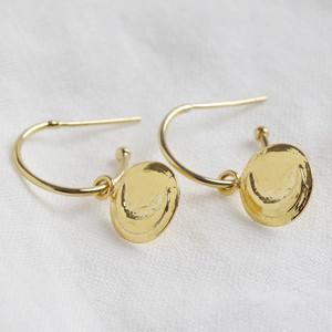 Moon Emboss Coin Hoop Earrings