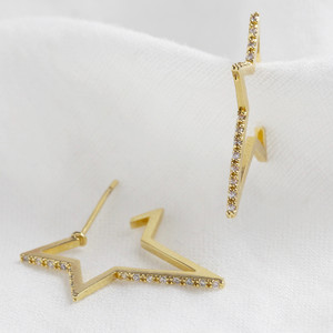 Crystal Edge Star Hoops in Gold.
