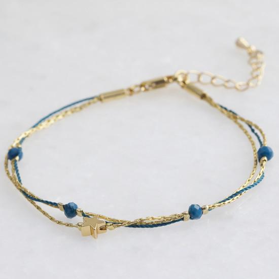 Blue and gold star bracelet
