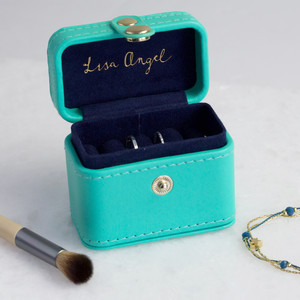 Sea Green & Navy Mini Travel Ring Box