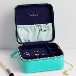 Sea Green & Navy Square Travel Jewellery Box