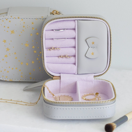 Grey with Gold Stars & Lilac Small Square Travel Jewellery Case