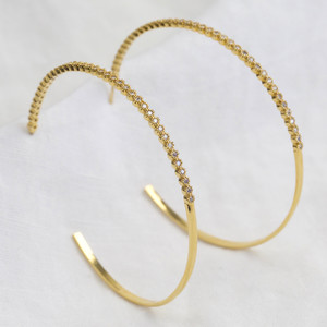 Large Crystal Hoops in Gold