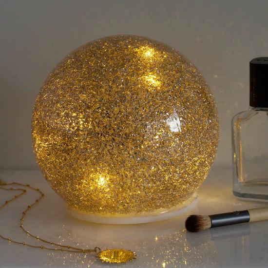 Medium Gold Glitter LED Ball