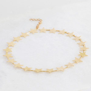 Brushed large star choker necklace - Gold