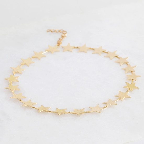 Brushed large star choker necklace - Gold