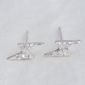 Lightening bolt earrings with diamante stones