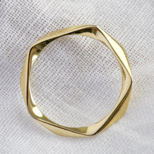 925 Gold Twisted Delicate Ring M/L