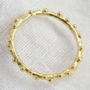 925 Gold Ball Edge Ring M/L