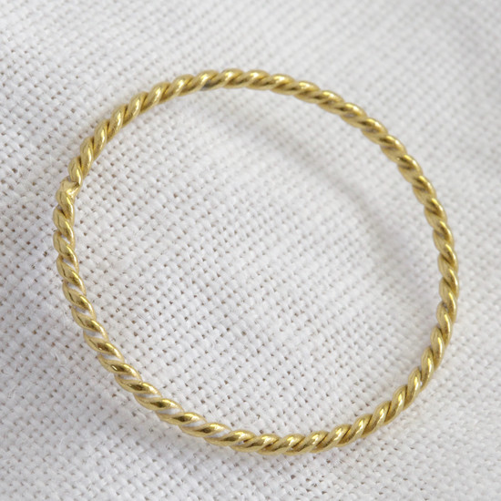 Rope Skinny Ring in sterling silver with gold plate size small