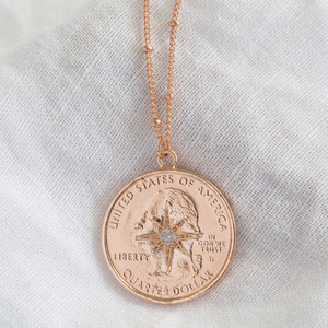 Rose Gold North Star Coin Pendant Necklace