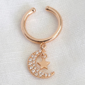 Rose Gold Ear cuff with clear crescent moon&star