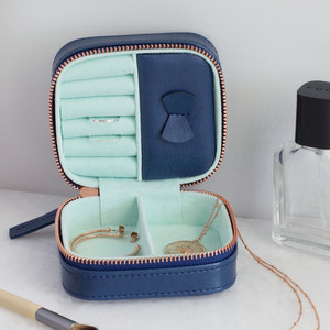 Navy & Mint Small Square Travel Jewellery Case